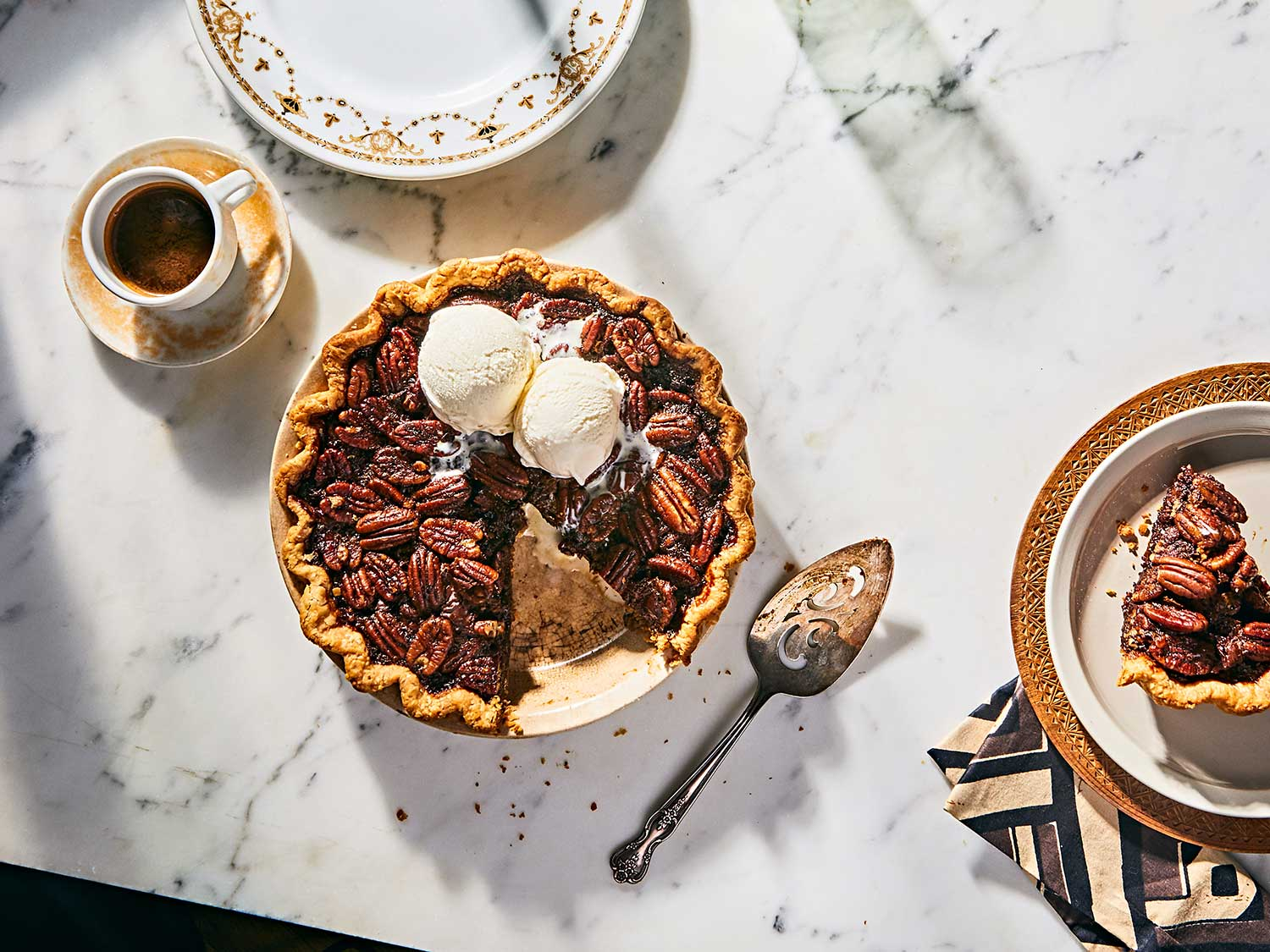 This pecan pie combines chocolate and bourbon in the most decadent way