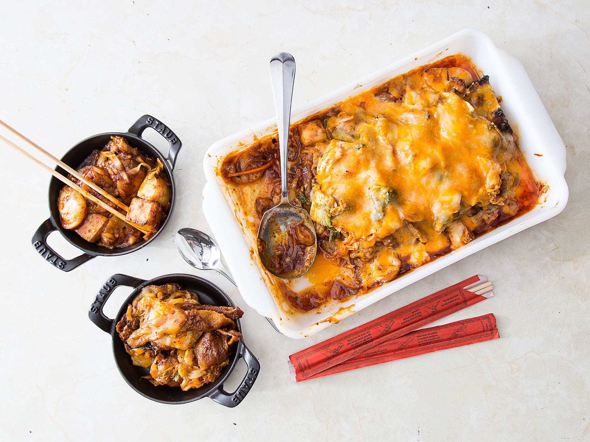 Korean Rice Cakes Ddukbokki With Pork Belly And Cheddar Saveur
