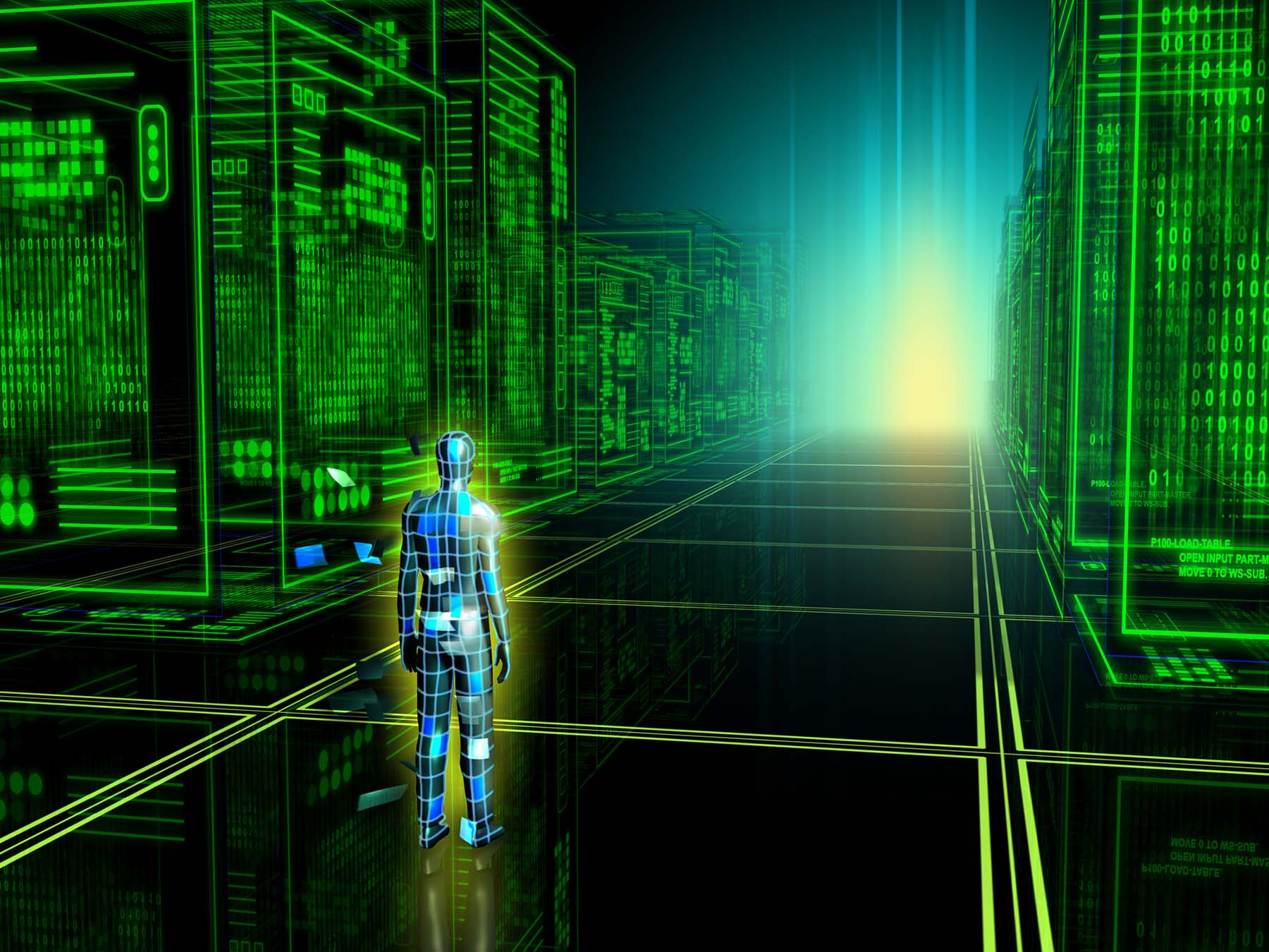 A humanoid inside a matrix full of computers.