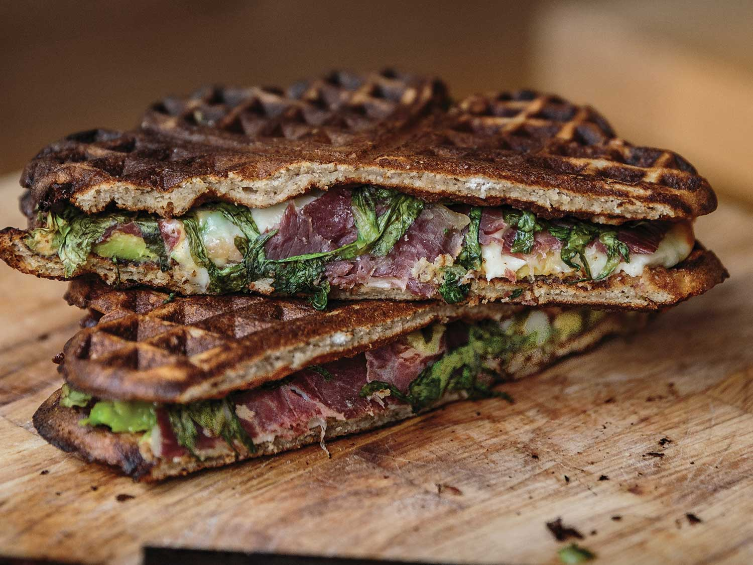 Waffle Sandwiches With Cecina Avocado And Arugula Recipe Saveur