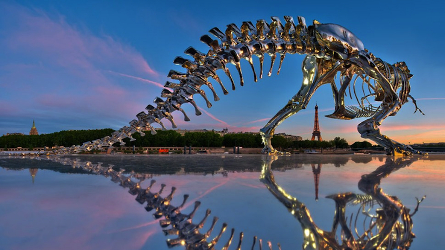Big Pic: Life-Sized T. Rex Sculpture Stares Down The Eiffel Tower