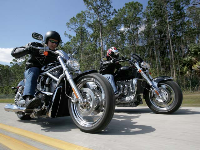 Turbo Triumph Rocket III And Harley-Davidson V-Rod | Road