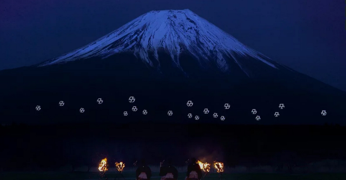 Drone Ballet Turns Mount Fuji Into Cyberpunk Lightscape